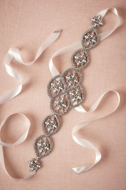 silver Crystal Lattice Sash | BHLDN