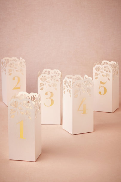 white Lasercut Table Number Luminaries | BHLDN