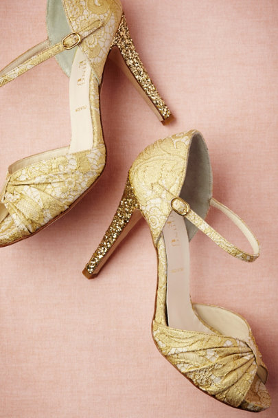 gold Brocade Glitter Heels | BHLDN