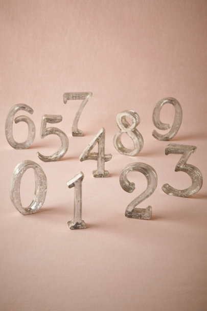silver Mercury Glass Table Numbers | BHLDN