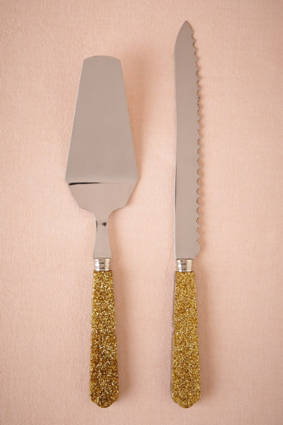 gold Twinkle Cake Serving Set | BHLDN
