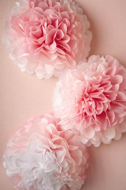 pink ombre Peony Ombre Poms (3) | BHLDN