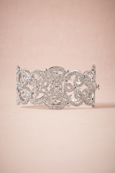 silver Crystalized Lace Bangle | BHLDN