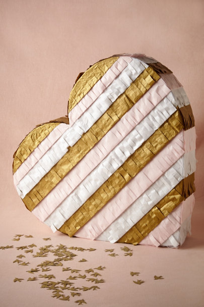 pink & gold motif Fringed Heart Piñata | BHLDN