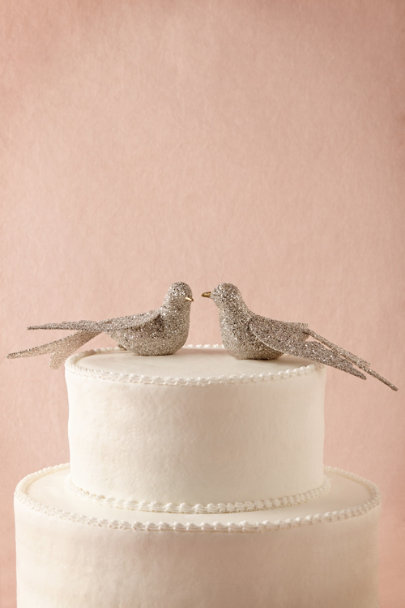 Wendy Addison silver Lovebird Cake Topper | BHLDN