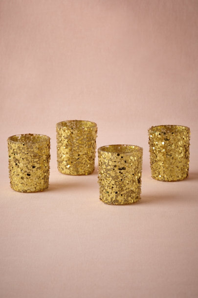 gold Glittered Votives (4) | BHLDN