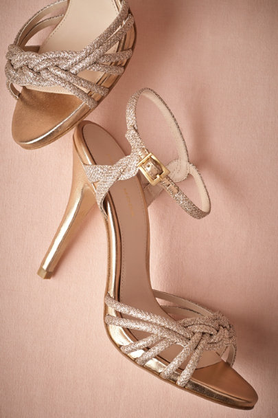GOLD Gold-Braided Heels | BHLDN