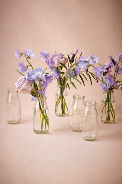 Clear Milk Bottle Jars (6) | BHLDN