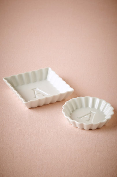 white Monogram Ring Dishes (2) | BHLDN