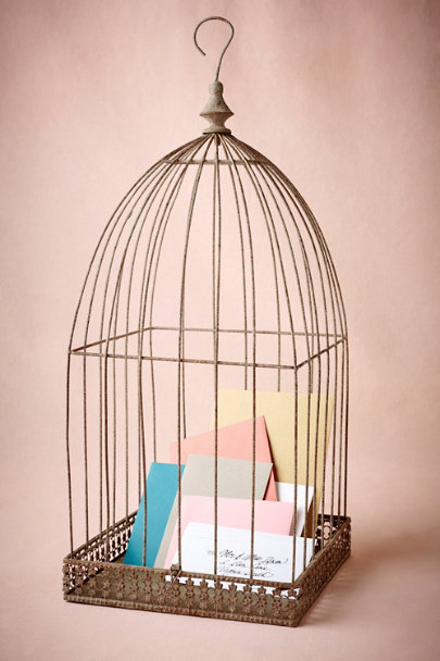 Distressed Wire Birdcage Holder | BHLDN