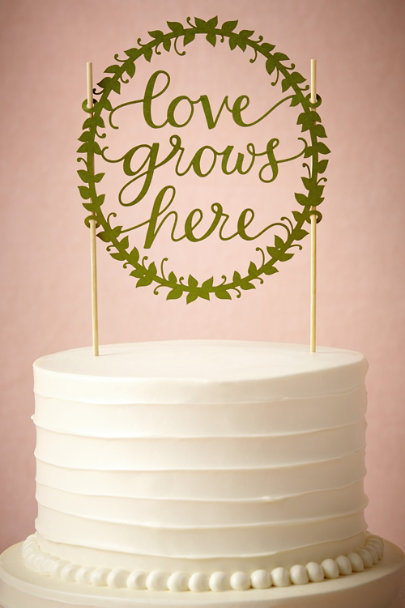 Green Love Grows Here Cake Topper | BHLDN