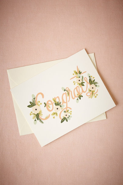 Pink Festooned Congrats Card | BHLDN