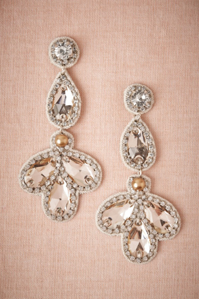 champagne Falling Petals Earrings | BHLDN