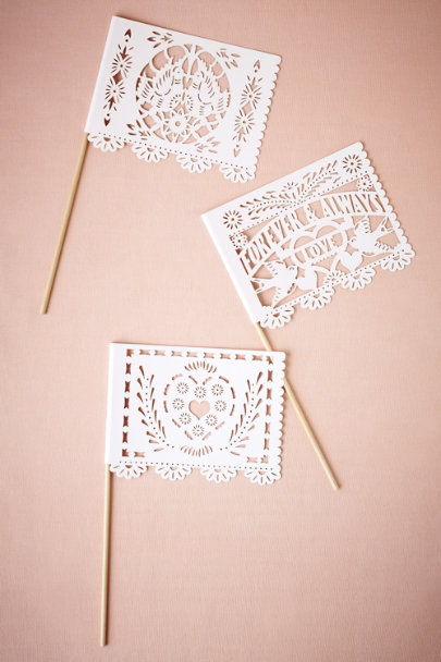 White Papel Picado Flags (6) | BHLDN