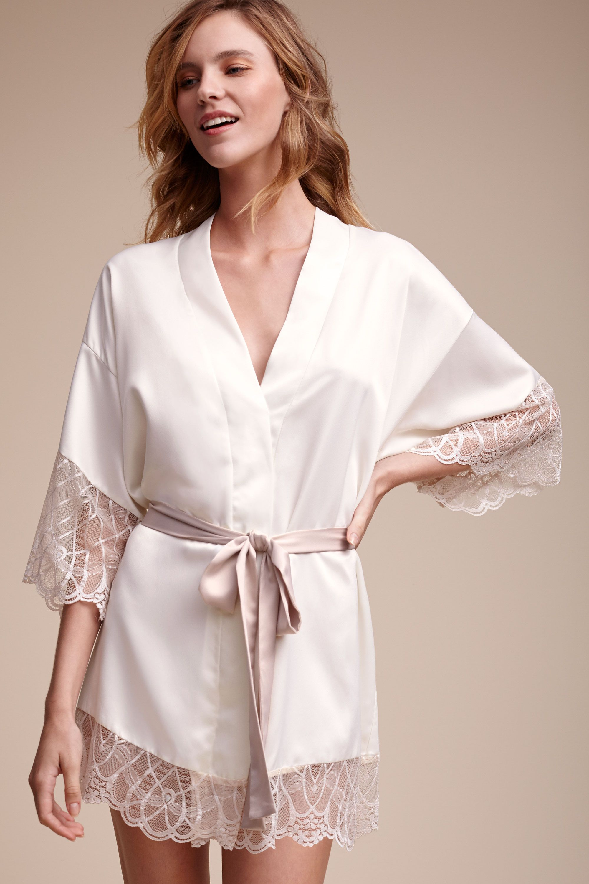 Wedding Bride Robe cosette kimono robe in bride bridal lingerie robes bhldn ivory bhldn