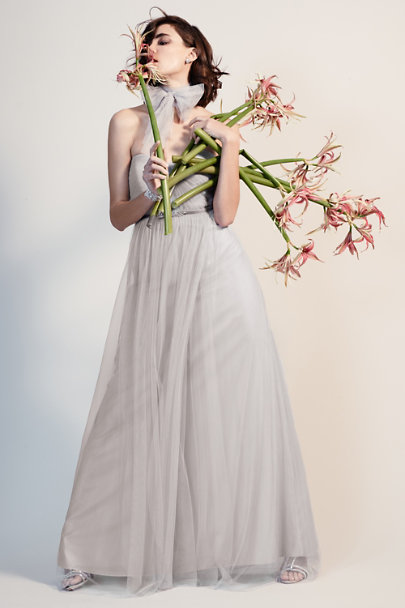 Jenny Yoo light grey Mischka Fitted Belt | BHLDN