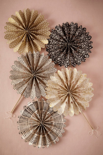 black motif Celebration Crinkle Fans (10) | BHLDN
