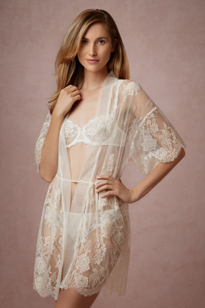 Mae chantilly lace robe in bride bhldn for What undergarments for wedding dress shopping