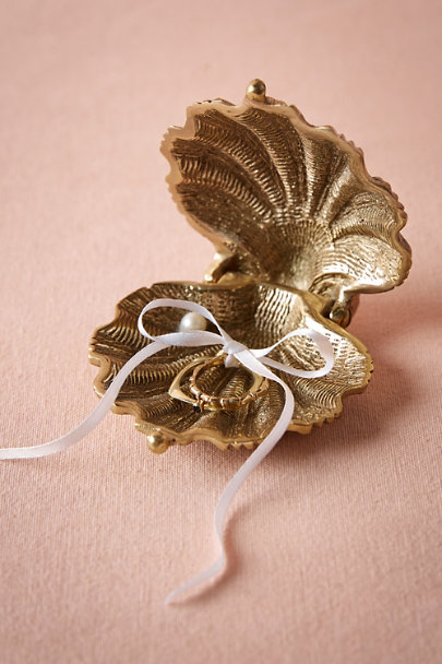 Gold Gilded Seashell Ring Holder | BHLDN