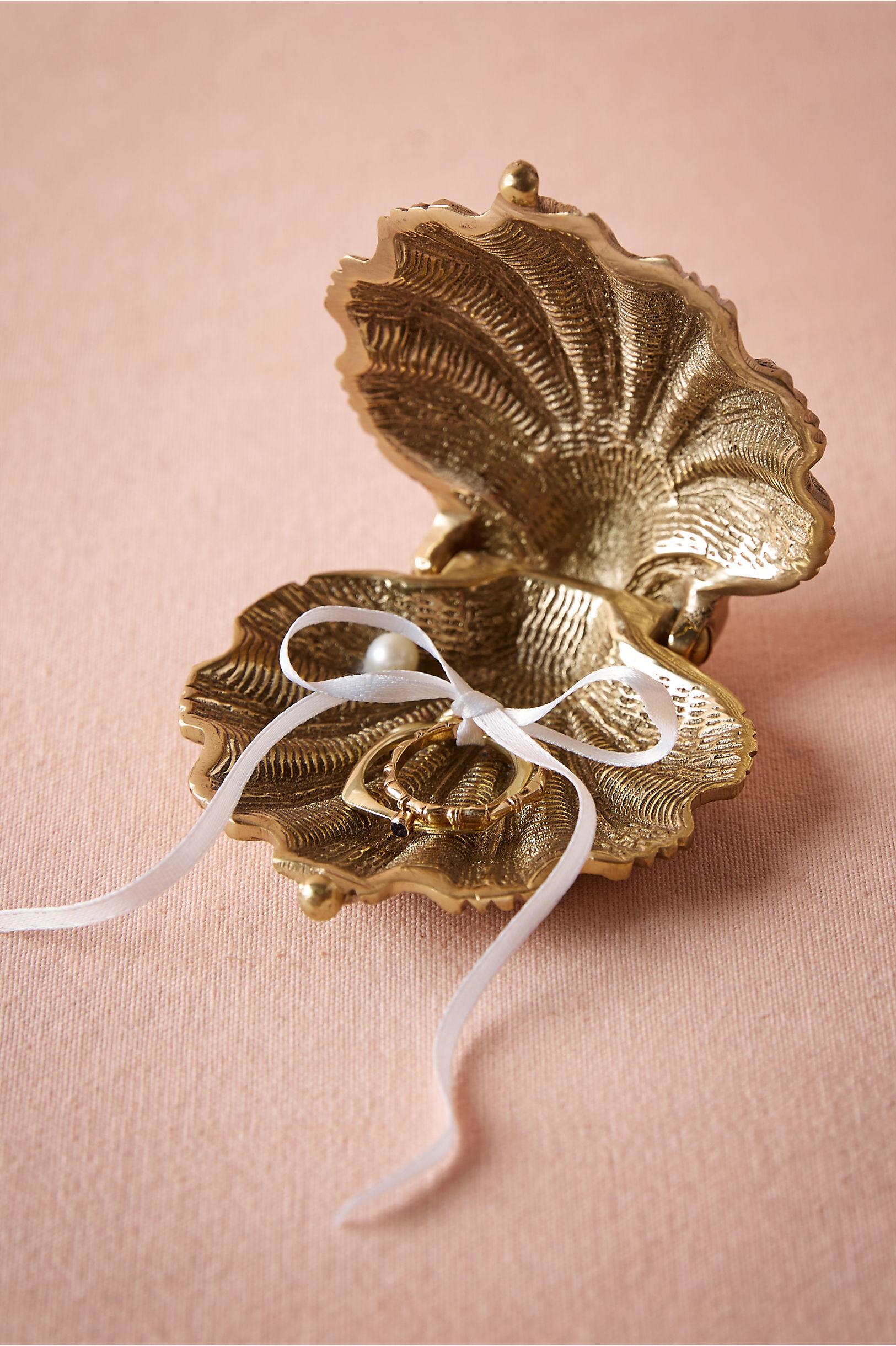 gilded seashell ring holder wedding ring holder Gold Gilded Seashell Ring Holder BHLDN