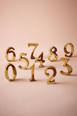Gold Teak Wood Table Numbers