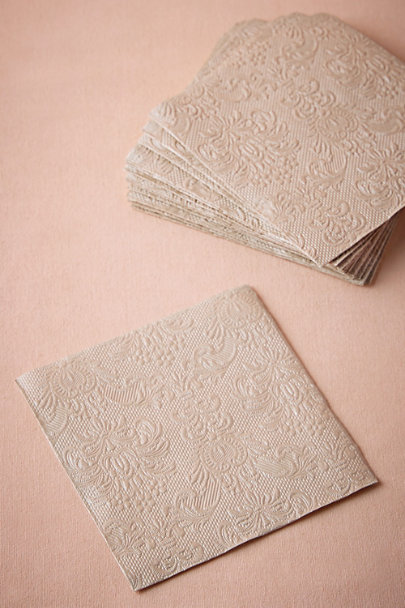 Pearl Taupe Chantilly Cocktail Napkins (15) | BHLDN