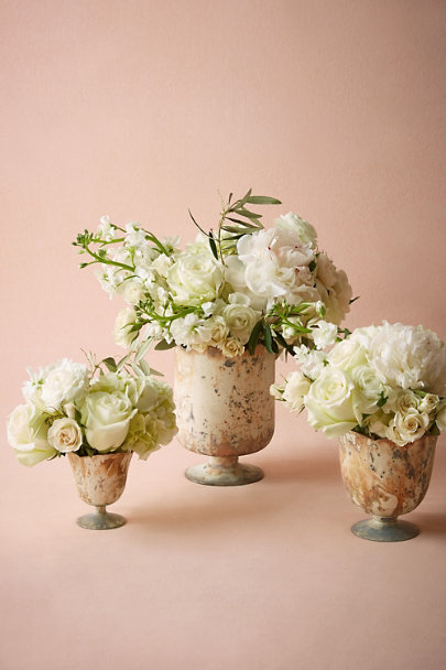 white marble Marbled Footed Vase | BHLDN
