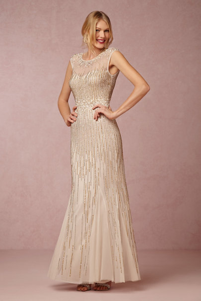 Aidan Mattox Light Gold Emeline Dress | BHLDN