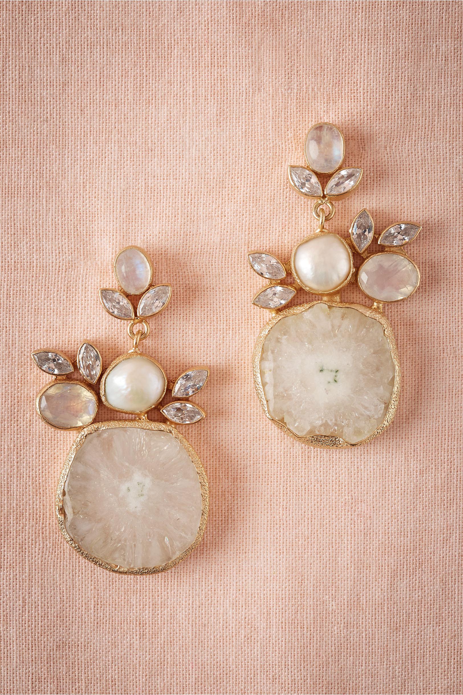Pearl Druzy Drop Earrings  Bhldn