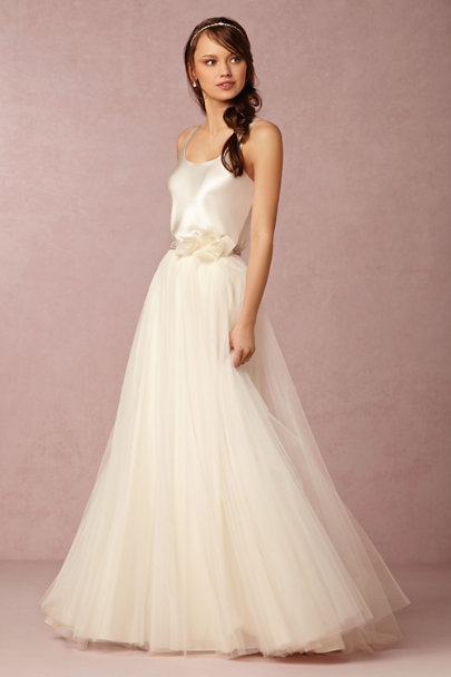 Watters ivory Gracia Skirt | BHLDN