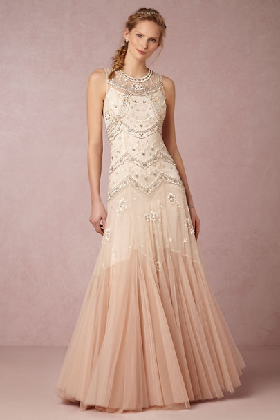 Needle & Thread Cream/Dust Pink Cate Gown | BHLDN