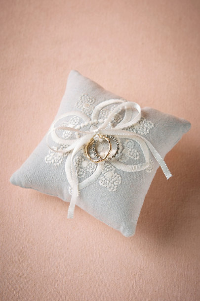 Moyna Grey Dove-Grey Stitched Ring Pillow | BHLDN