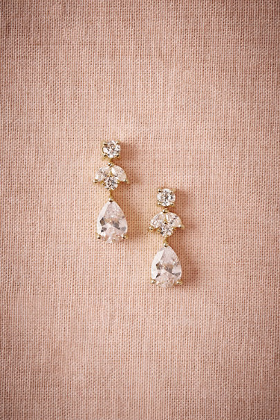 Kenneth Jay Lane Gold Petite Crystal Drop Earrings | BHLDN