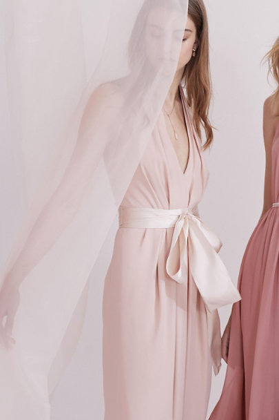 Madeleine Fig Whisper Pink Simply Silk Sash | BHLDN