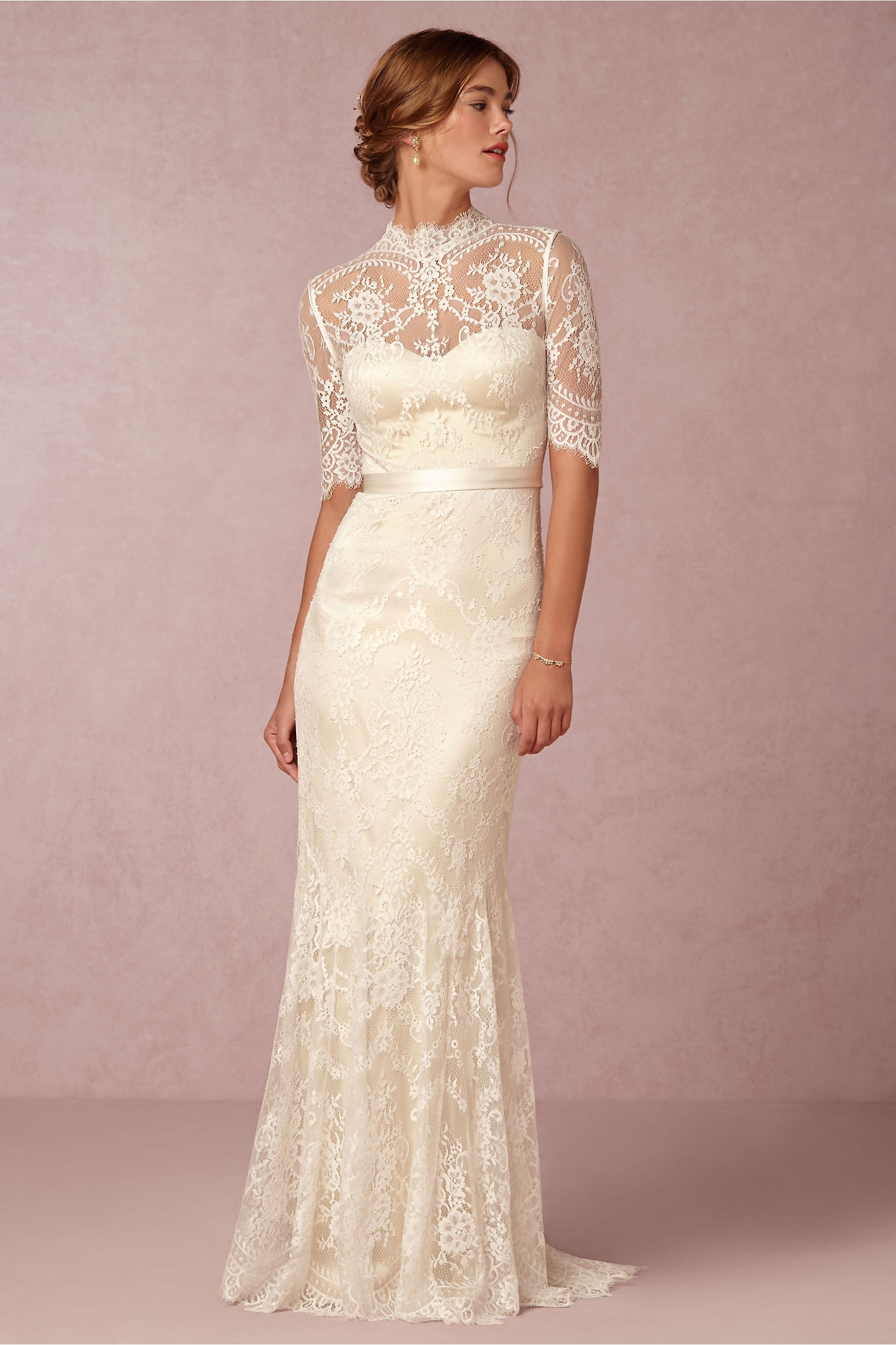 straight lace wedding dress with sleeves straight wedding dresses Straight Lace Wedding Dress With Sleeves