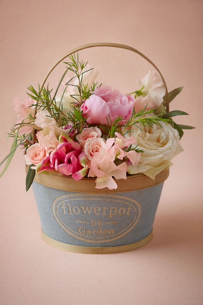 Light Blue Flower Girl Garden Basket | BHLDN