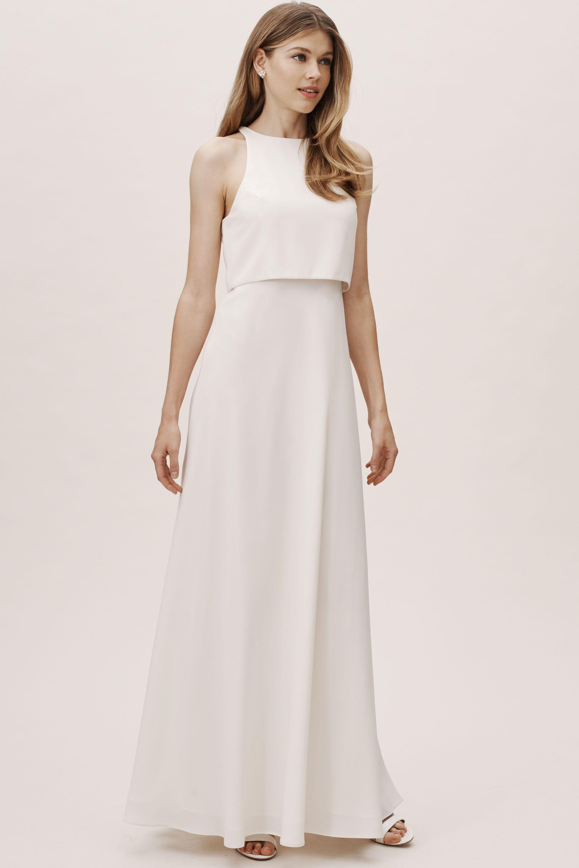 Ivory cream champagne bridesmaid dresses bhldn iva crepe maxi ombrellifo Gallery