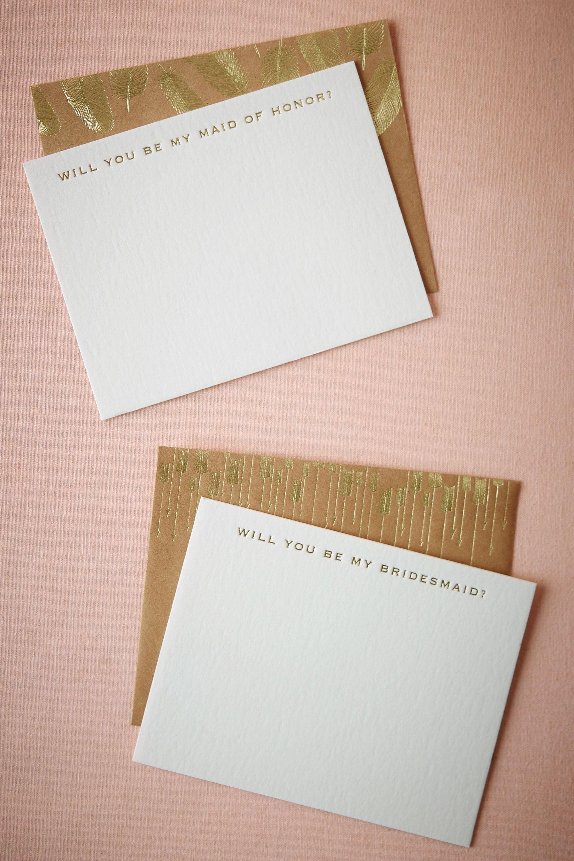 Golden Plume Bridesmaid Card