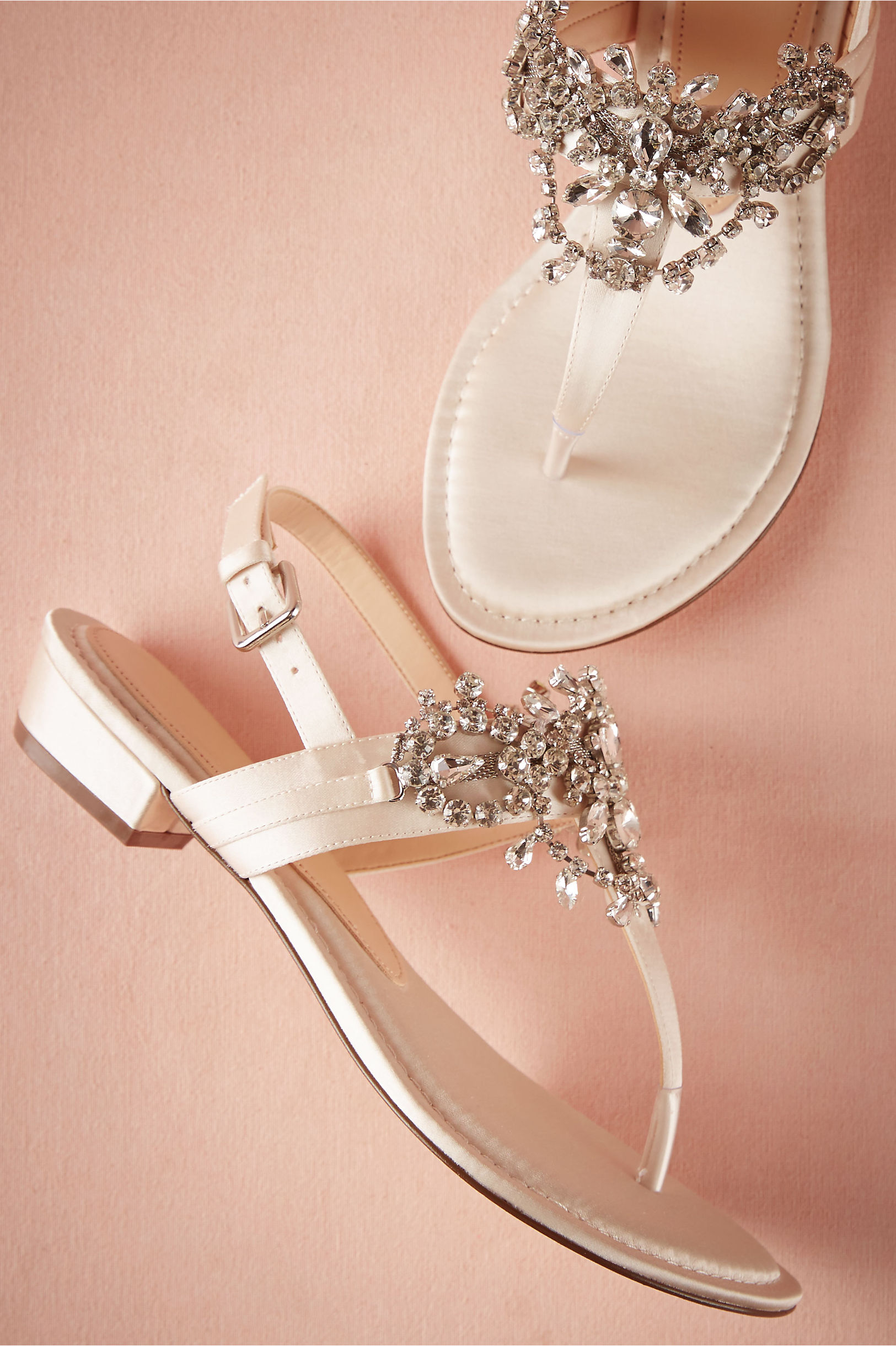 Sandals honeymoon shoes with rhinestone - Hitherto Ivory Crystal Pool Sandals Bhldn