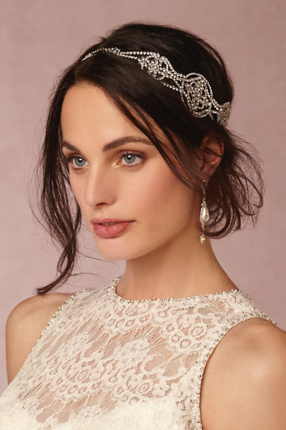 Untamed Petals Silver Damara Halo | BHLDN