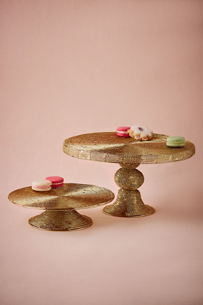 Antique Brass Spun Gold Cake Stand | BHLDN
