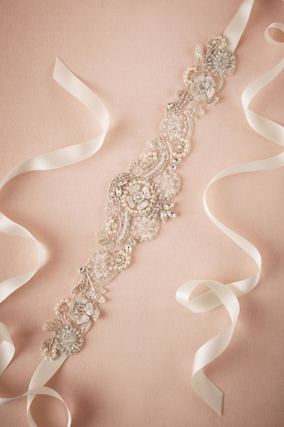 Sara Gabriel Silver Madison Sash | BHLDN