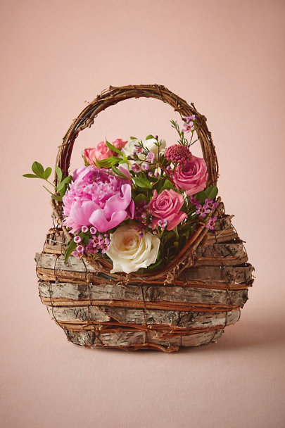 Natural Woodland Flower Girl Basket | BHLDN