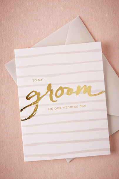 Sugar Paper Gold Foiled Groom Card | BHLDN