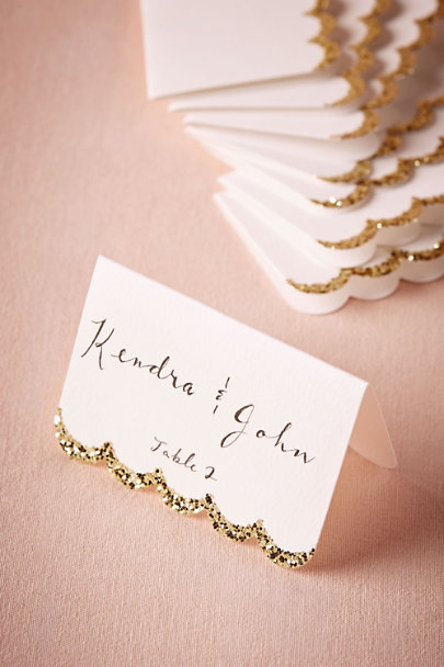 Gold Glitter-Dipped Place Cards (10) | BHLDN