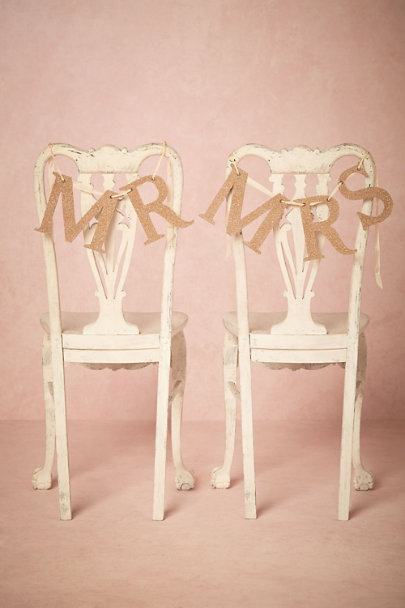 Wendy Addison Gold Entitled Chair Signs | BHLDN