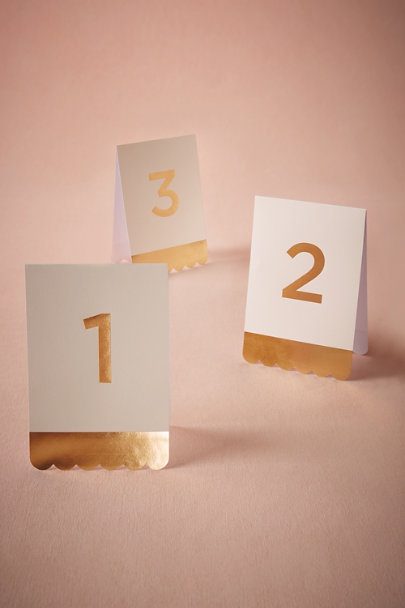 Gold Tented Foil Table Numbers | BHLDN