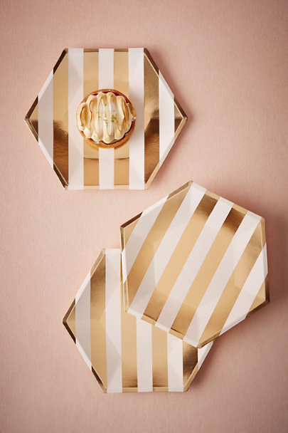 Gold Hexagonal Paper Plates (8) | BHLDN