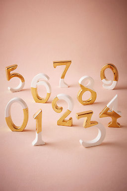 Gold Dipped Table Numbers