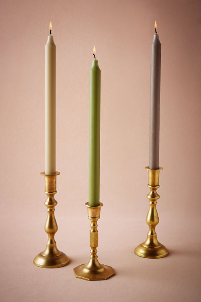 Antique Brass Turned Brass Candlesticks | BHLDN